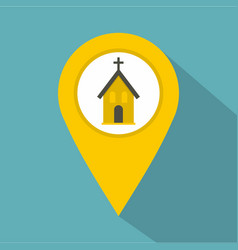 Yellow map pointer with church sign icon vector