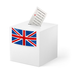 Election in great britian ballot box with voicing vector