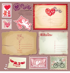 Set of vintage postcards and post stamps for valen vector