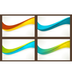 Set of colourful wave templates banners vector