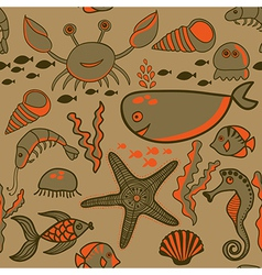 Sea background marine seamless pattern with fish vector