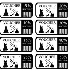 Vouchers set for women clothes and accessories vector