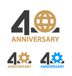 40 years anniversary industry gear globe number vector