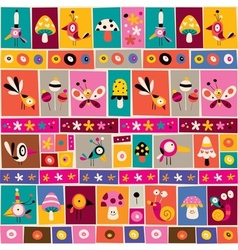 flowers birds mushrooms snails nature collage vector image