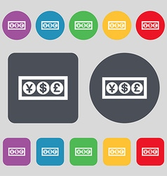 Cash currency icon sign a set of 12 colored vector