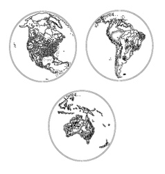Globes scheme settlements america and australia vector