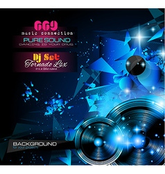 Disco night club flyer layout with music themed vector