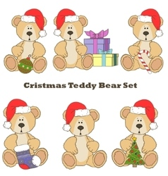 Christmas teddy bear set vector