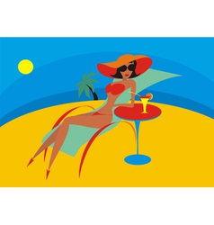 Beach chaise lounge vector
