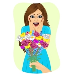 Woman receiving bouquet of wild flowers vector