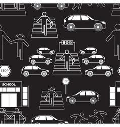 Safety of children in traffic pattern vector