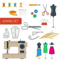 Sewing equipment set icons vector