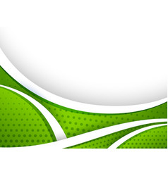 Background design with green curve lines vector
