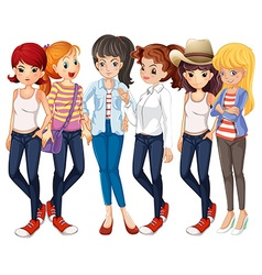Beautiful women wearing jeans vector
