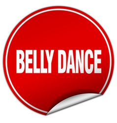 Belly dance round red sticker isolated on white vector