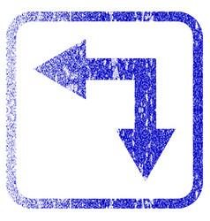 Bifurcation arrow left down framed textured icon vector
