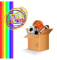 Box with sports balls vector image