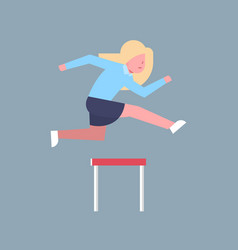 Business woman jumping over obstacle successful vector