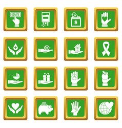 Charity icons set green vector