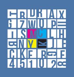 cmyk typography concept vector image vector image