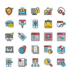 digital and internet marketing icons set 4 vector image vector image