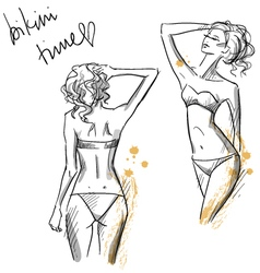 Drawing of beautiful girls wearing bikini vector image