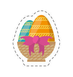 easter basket egg bow decoration-cut line vector image vector image