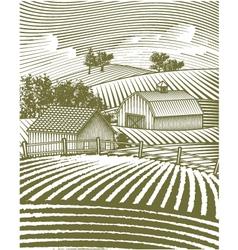 Farm scene landscape vector