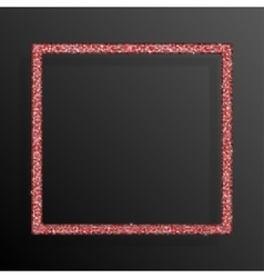 Frame red sequins square glitter sparkle vector