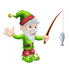 Garden gnome with fishing rod vector