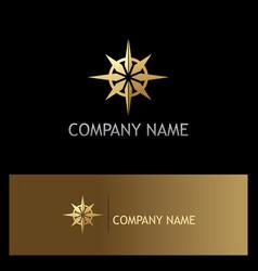 Gold north star compass logo vector