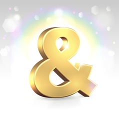 Golden ampersand sign over magic vector image vector image
