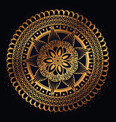 Golden mandala decorative icon vector
