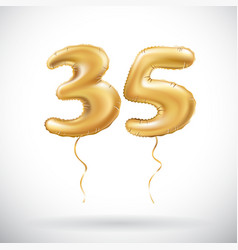 Golden number 35 thirty five metallic balloon vector