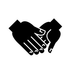 hand in hand icon black sign vector image