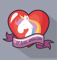 I love unicorns design vector