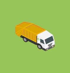 icon isometric garbage truck vector image