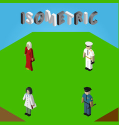 Isometric person set of female seaman doctor and vector