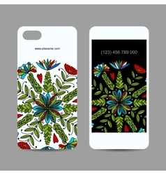 Mobile phone cover design floral mandala ornament vector
