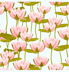 Pink water lily lotus flowers seamless pattern vector