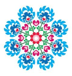 Polish round folk art pattern - wzory lowickie vector