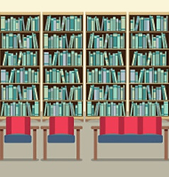 Reading Seats In Front Of A Bookcase vector image