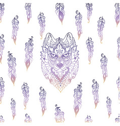seamless pattern with tribal ethnic wolf vector image