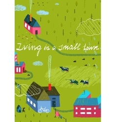 Small Town or Village with Forest and Little vector image vector image