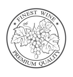 Stamp with grapes bunches vector