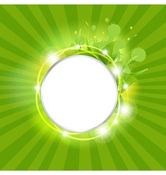 Sunburst Background With Leafs And Stars vector image