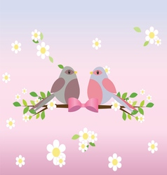Two pigeons on a tree branch vector
