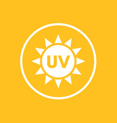 Uv radiation icon in circle vector
