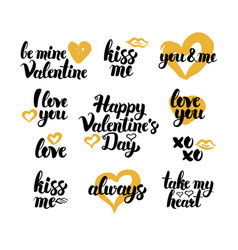valentines day hand drawn quotes vector image vector image