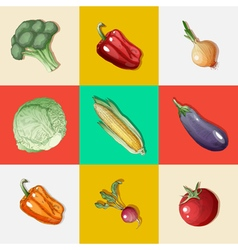 Vegetables set vintage style healthy food vector